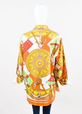 Hermes Orange and Green Compass Print Silk Button Up Blouse Backview
