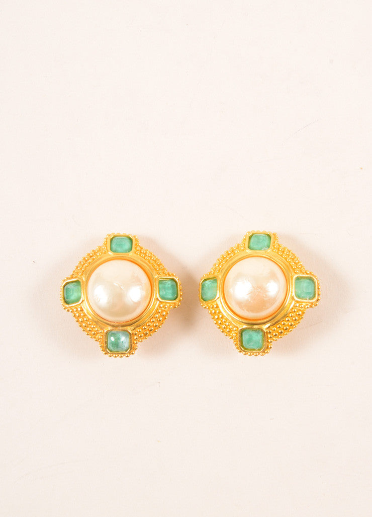 Dominique Aurientis Gold Toned and Green Faux Pearl and Cabochon Earrings Frontview