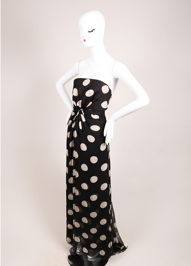 Valentino Black and Beige Chiffon Polka Dot Draped Strapless Gown Sideview