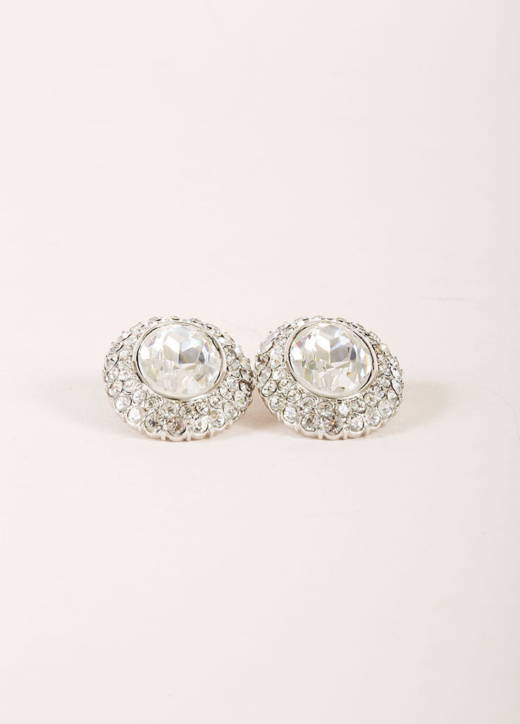 Yves Saint Laurent Silver Toned Chunky Rhinestone Hem Oval Earrings Sideview