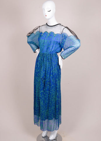 Zandra Rhodes Blue and Black Silk Graphic Print Mesh Embellished Dress Sideview