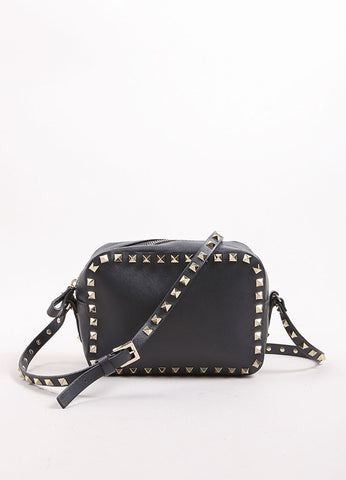 "Valentino Grey and Gold Toned Leather ""Rockstud"" Crossbody Bag Frontview"