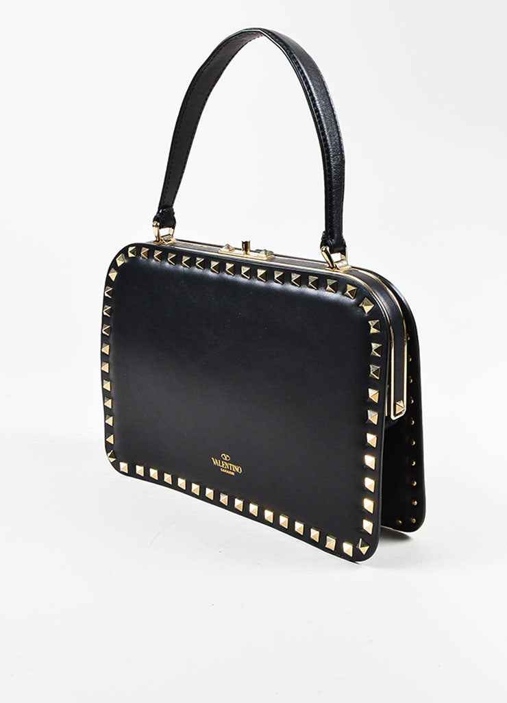"Valentino Noir Black Leather Pyramid Studded ""Rockstud"" Frame Handbag Sideview"