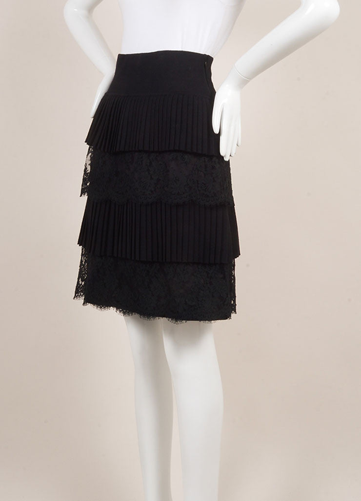 Valentino Black Wool and Silk Lace Pleated Tiered Knee Length Skirt Sideview
