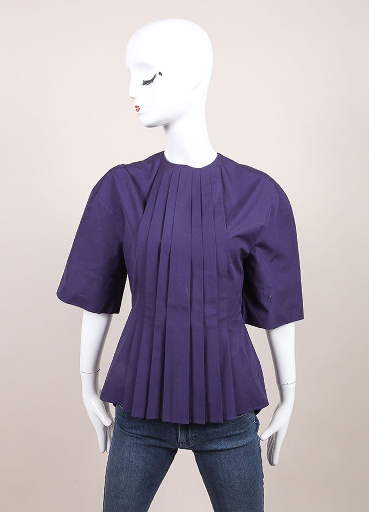Victoria Beckham New With Tags Purple Cotton Pleated Wide Sleeve Top Frontview