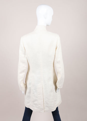 3.1 Phillip Lim Ivory Linen Rosette Button Down Long Coat Backview