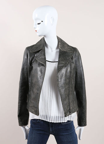 Alaia Dark Grey Distressed Crackle Leather Zip Moto Jacket Frontview