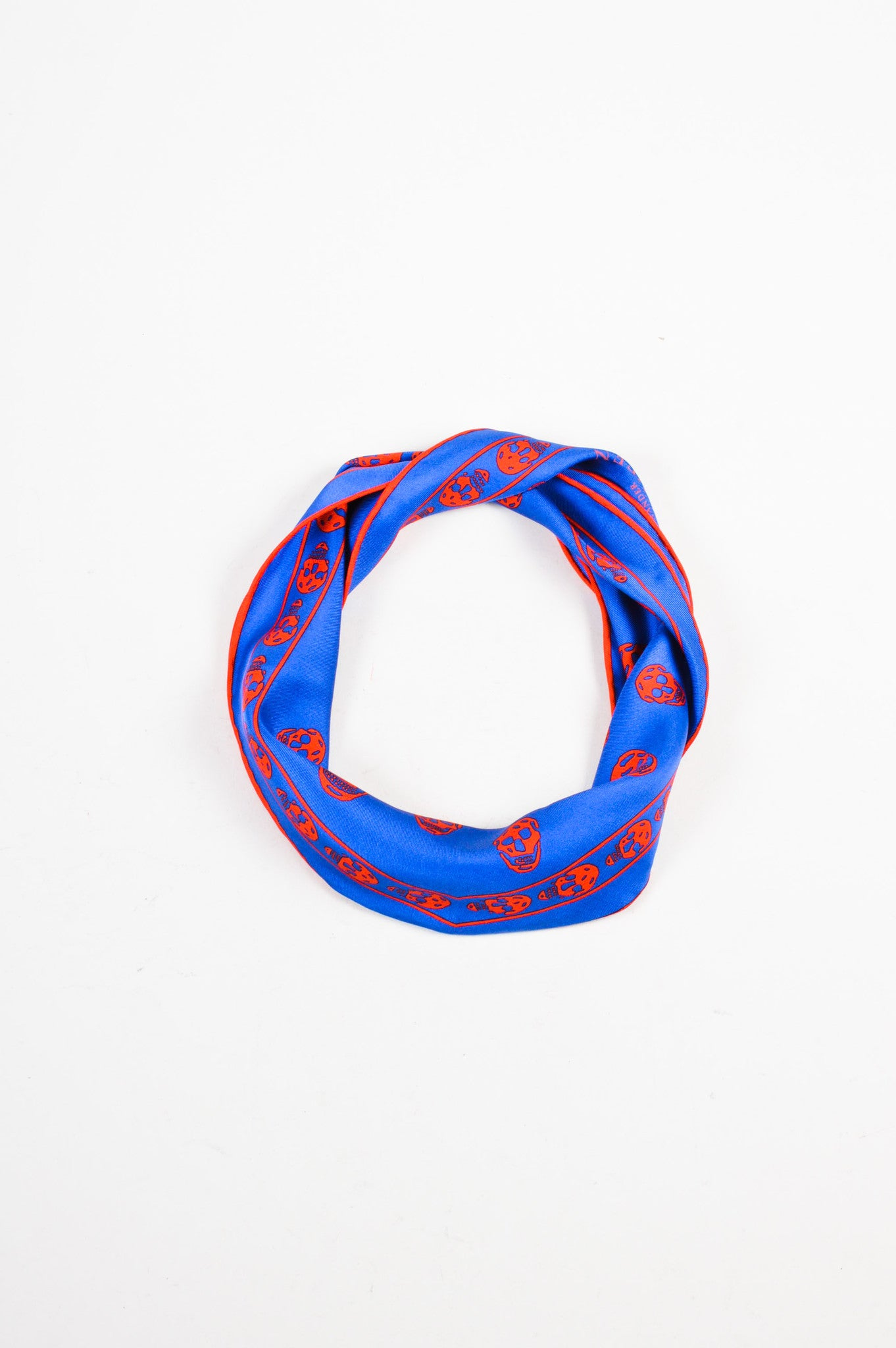 Alexander McQueen Blue and Red Silk Skull Print Diamond Scarf Frontview