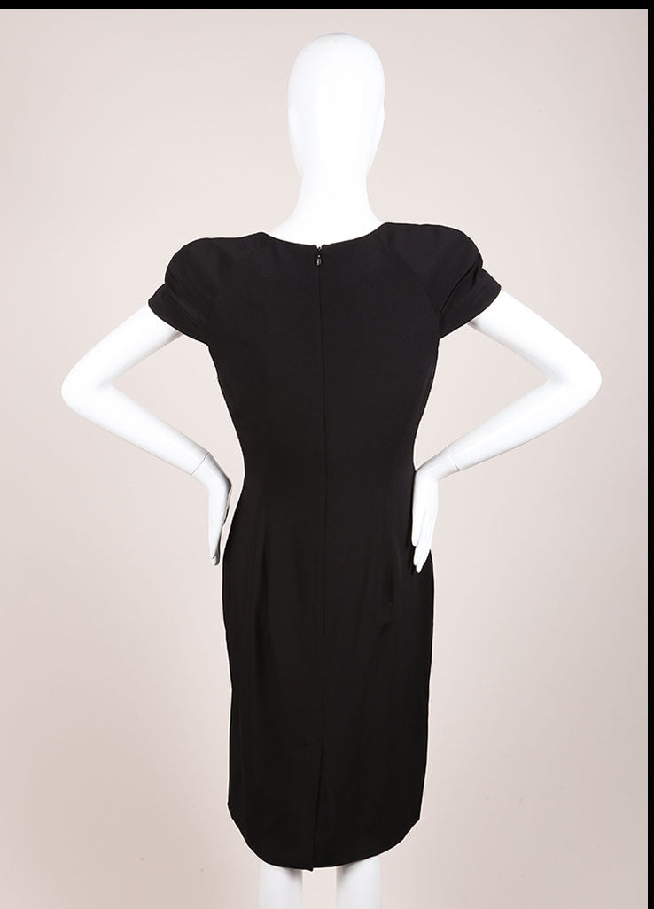 Alexander McQueen New With Tags Black Padded Cap Sleeve Drape Neck Silk Dress Backview