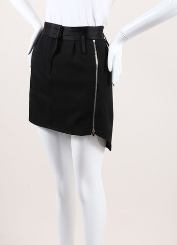 Alexander Wang Black and Navy Wool and Nylon Inset Zippered High Low Mini Skirt Sideview