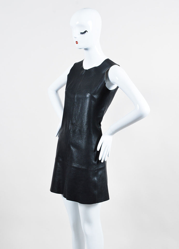 Black Balenciaga Buffalo Grained Leather Sleeveless Paneled Fit and Flare Dress Sideview