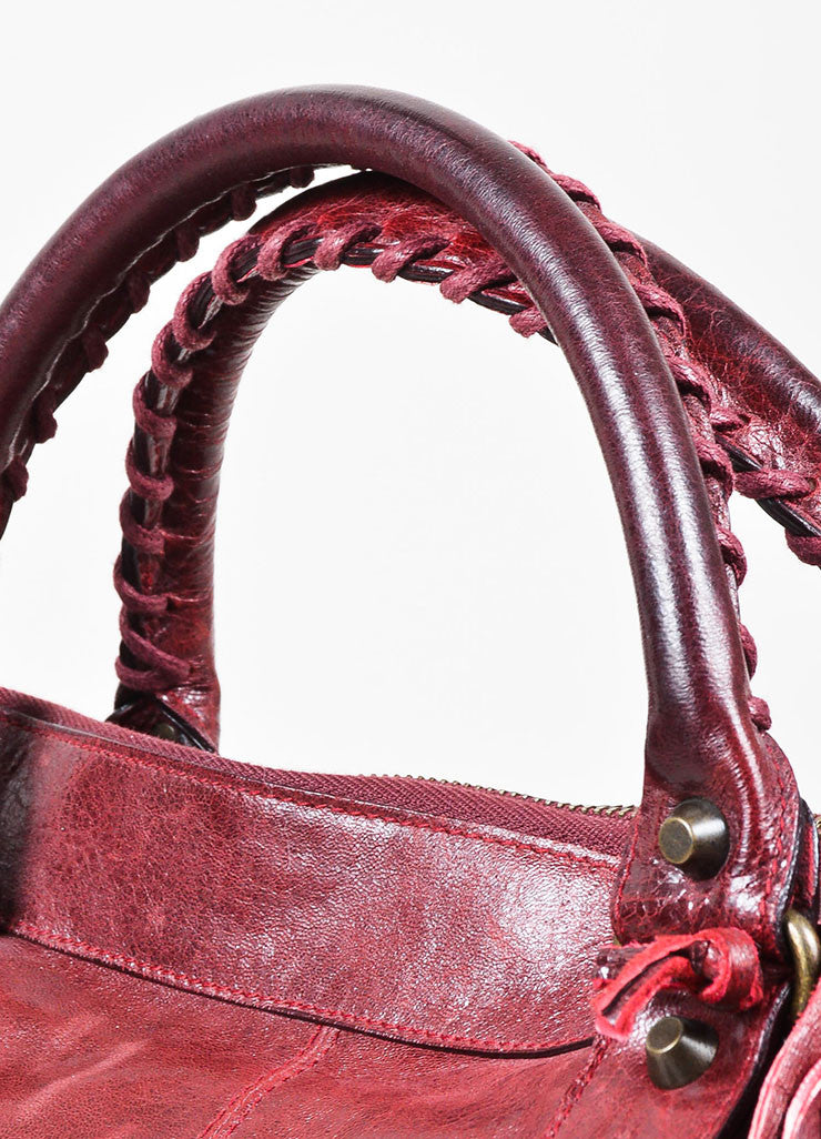 "Balenciaga Maroon Red Leather ""Classic Work"" Satchel Tote Bag Detail 2"