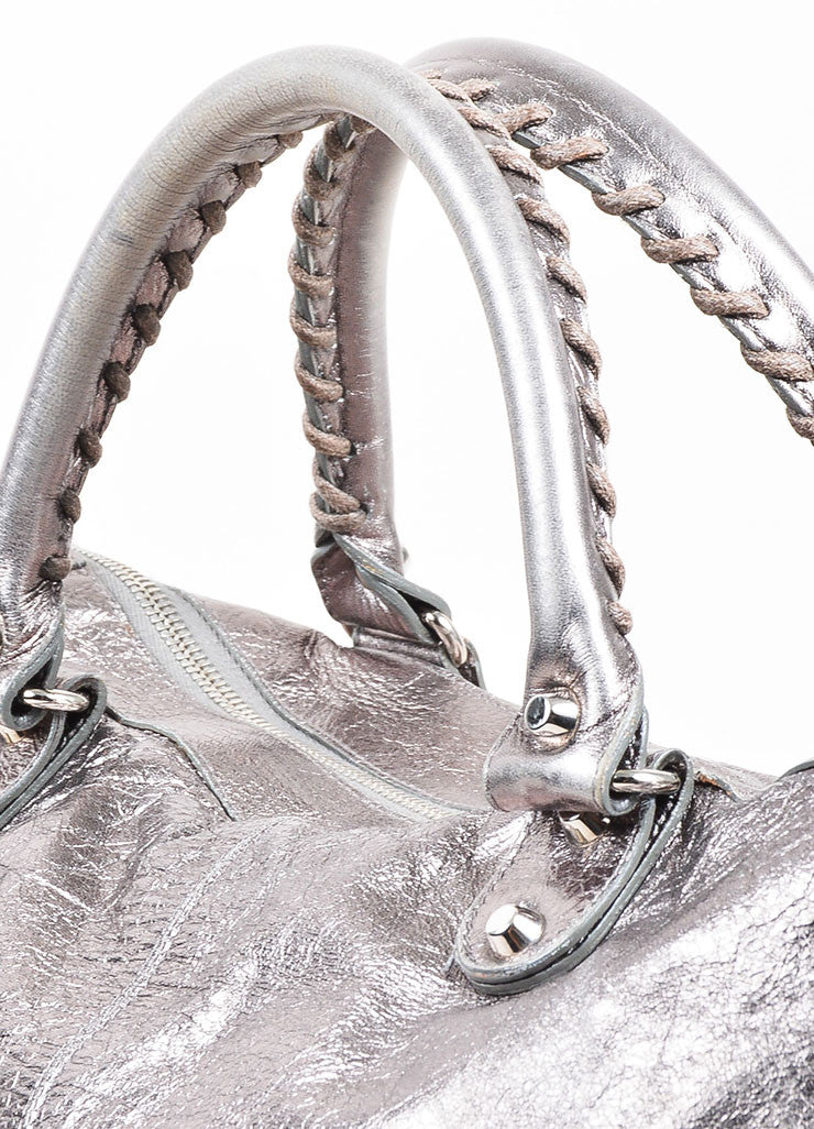 "Balenciaga Metallic Gunmetal Leather Silver Toned Stud Zip ""Classic Work"" Bag Detail 2"