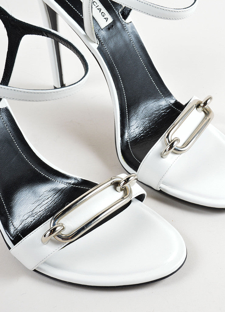 White and Silver Balenciaga Leather Strappy Buckle Maillon Sandals Detail