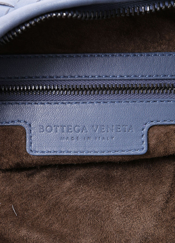 "Bottega Veneta Blue Basketwoven Intrecciato Leather ""Maxi Veneta"" Hobo Bag Detail 4"