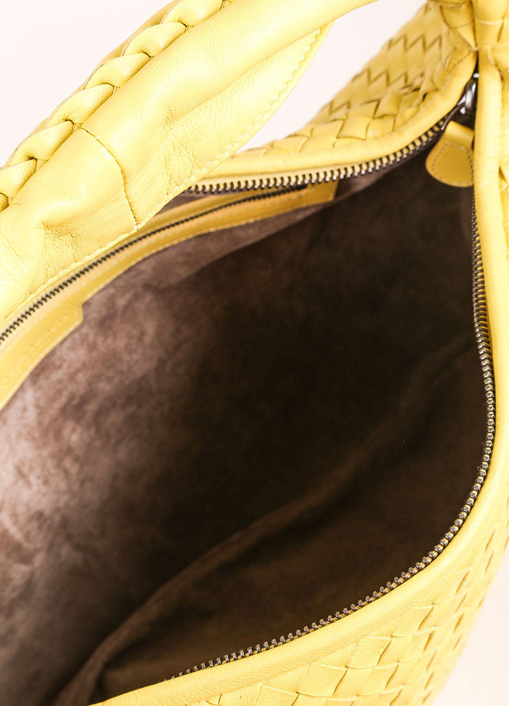 Bottega Veneta Yellow Leather Woven Hobo Shoulder Bag Interior