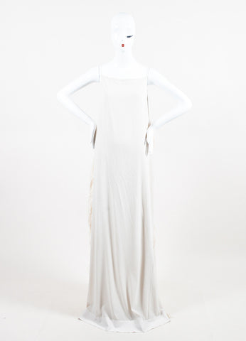 Brunello Cucinelli White Silk Ostrich Feather Gown Frontview