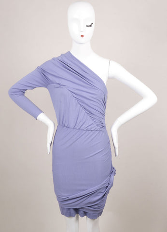 Carven Lilac Stretch Jersey Ruched One Sleeve Dress Frontview