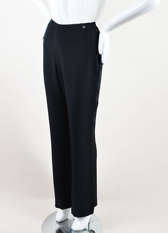 Chanel Black Silk Wide Leg Trouser Pants Sideview