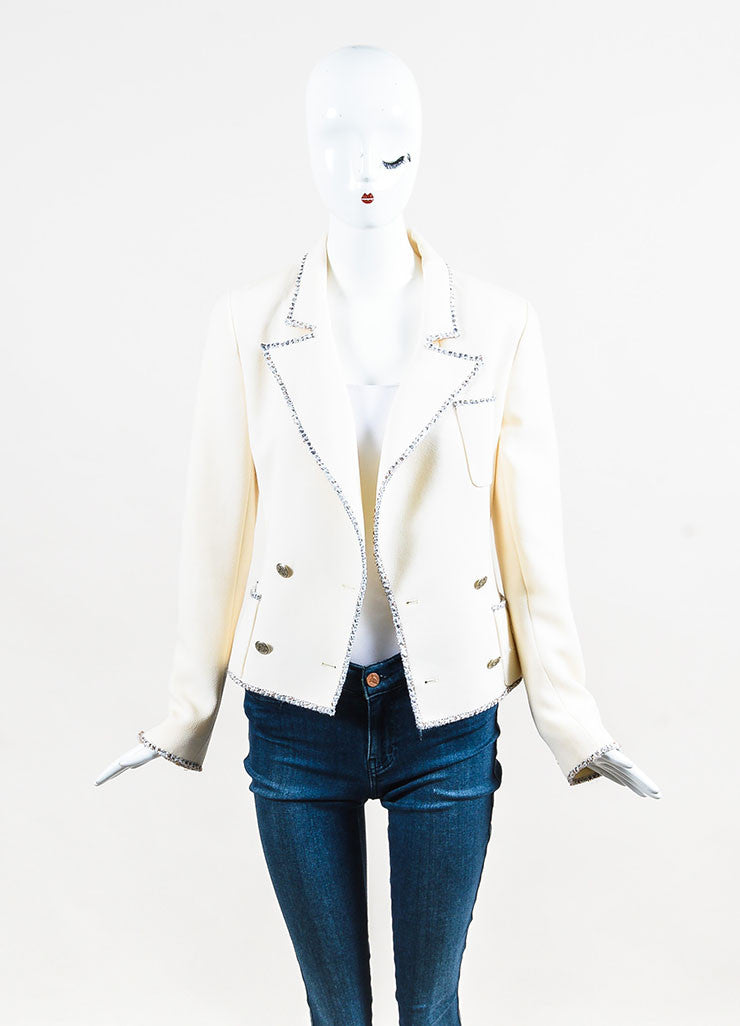 Cream Chanel Wool Tweed Trimmed Double Breasted Jacket Front