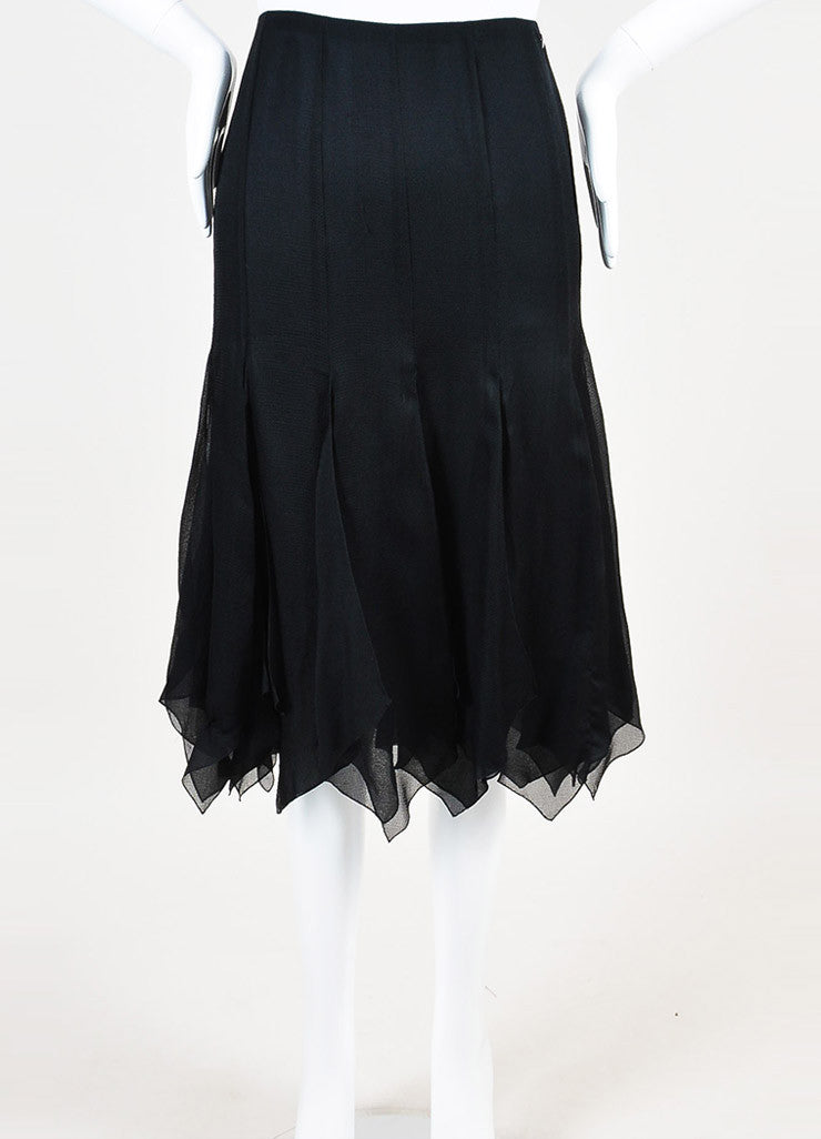 Chanel Black Silk Chiffon Zig Zag Pointed Hem Multi Slit Midi Skirt Frontview