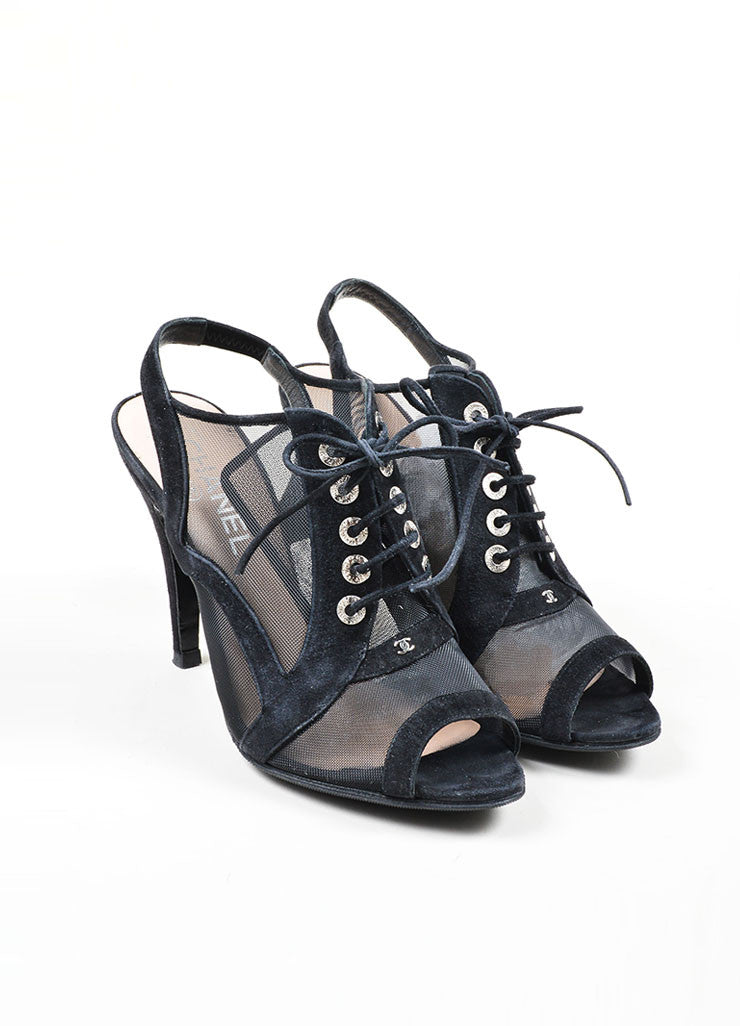 Black Chanel Suede Mesh Lace Up Peep Toe Slingback Sandal Booties Frontview