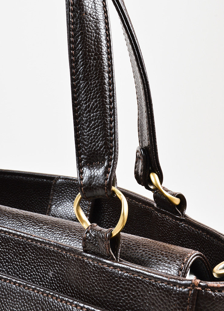 Chanel Brown Caviar Leather Gold Toned Hardware 'CC' Embroidered Crossbody Tote Bag Detail 2
