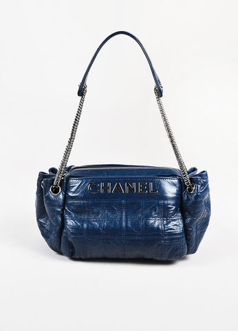 "Chanel Navy Blue Quilted Leather ""LAX Camera Case"" Chain Link Bag Front"