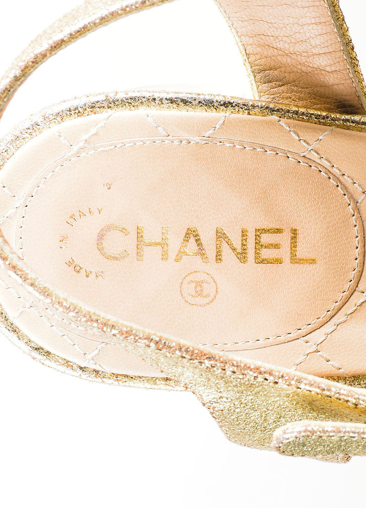 Gold Chanel Metallic Leather Cross Ankle Strap Sandals Brand