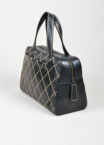 "Chanel ""Surpique Bowler"" Black and Beige Leather Quilted Tote Bag Sideview"