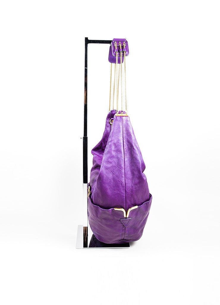 "Chloe ""Triple Chain Milton"" Purple Leather Hobo Shoulder Bag Sideview"