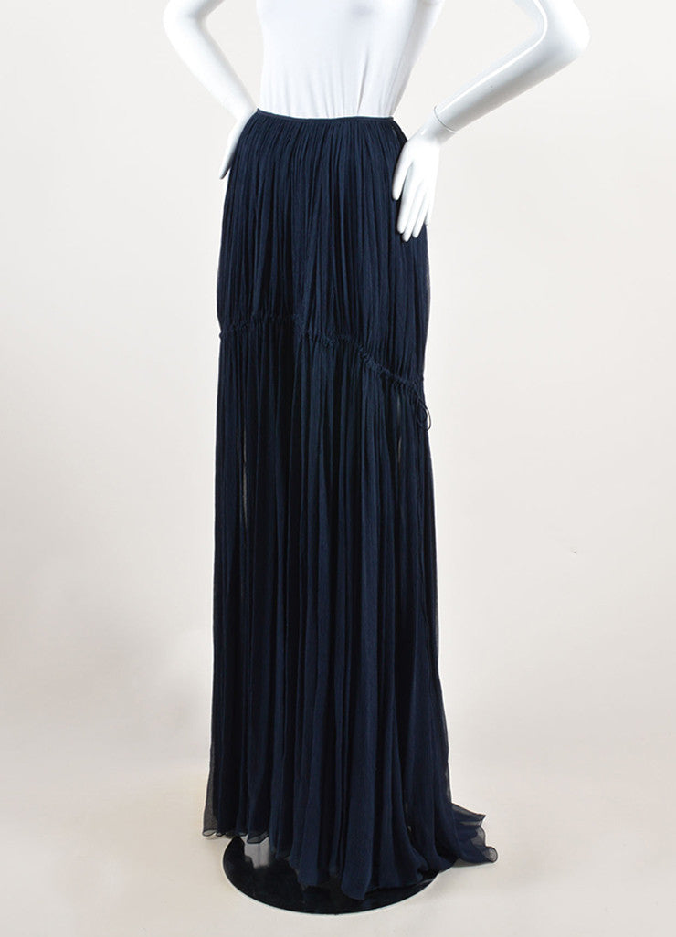 Chloe Navy Blue Silk Chiffon Pleated Drawstring Maxi Skirt Sideview