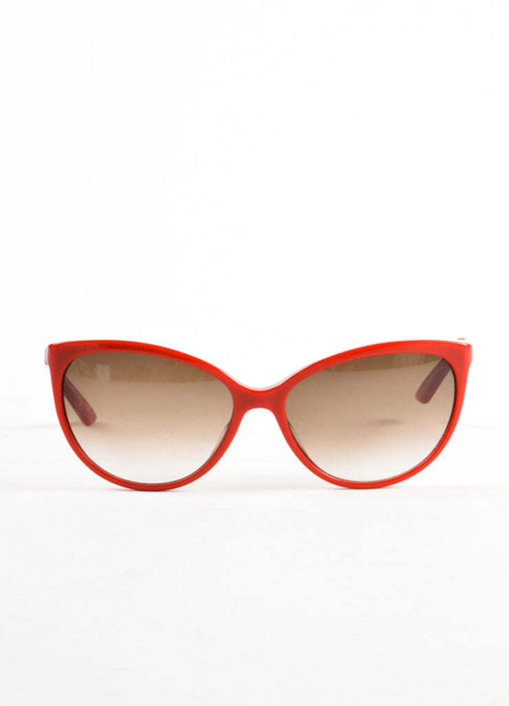"Christian Dior Red, Tortoise, and Gold Toned Cat Eye ""Zeli"" Sunglasses Frontview"