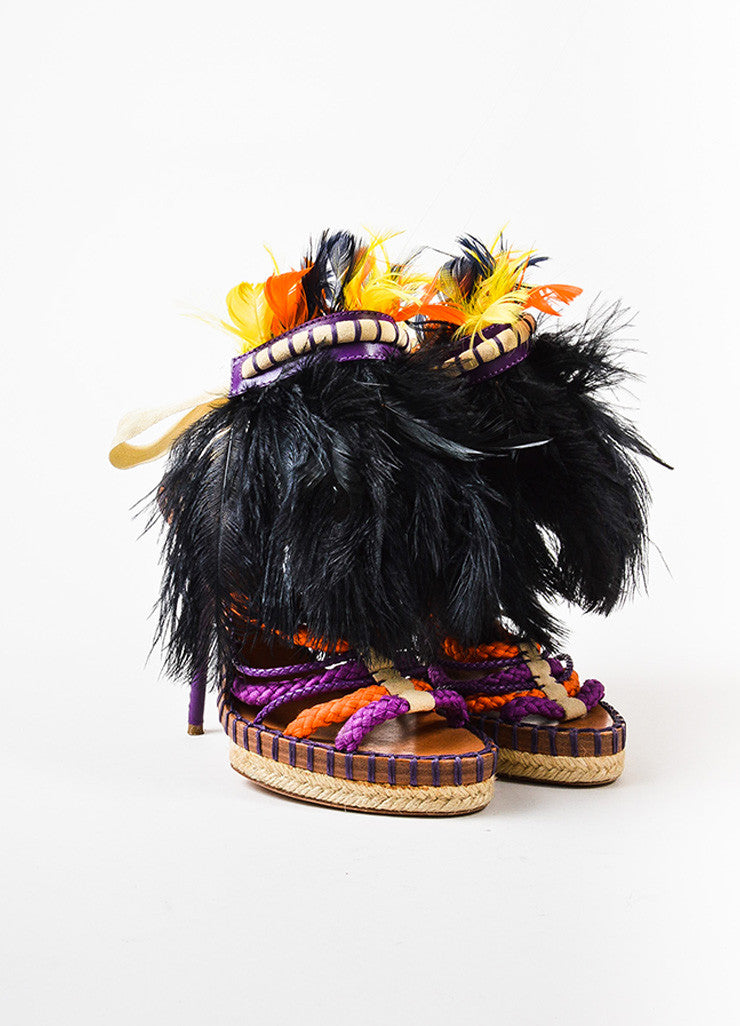 "Christian Dior Purple,  Orange, and Cream Rope Feather ""Tahiti"" Strappy Sandals Frontview"