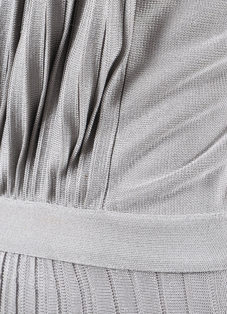 Christian Dior Grey Silky Knit Pleated Maxi Dress Detail