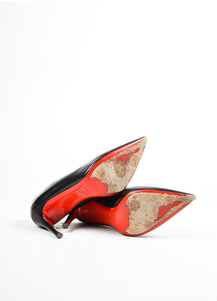 "Black Christian Louboutin Leather ""New Hai 85MM"" Pointed Toe Pumps Outsoles"