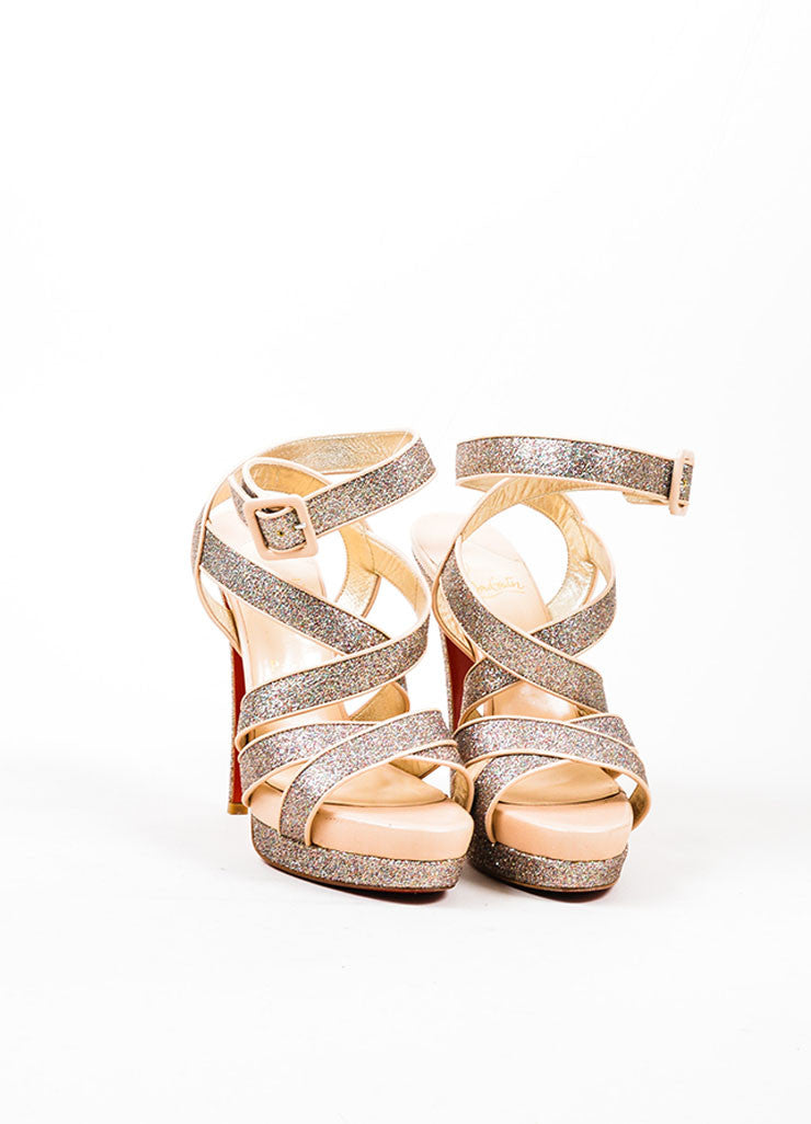 "Natural Taupe Glitter Christian Louboutin ""Straratata 140"" Sandal Frontview"