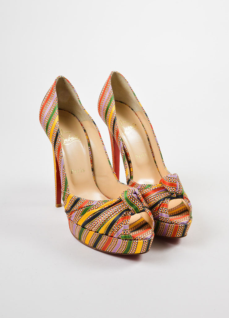 "Christian Louboutin Multicolor Textile ""Rasta Damas Greissimo 140"" Pumps Frontview"
