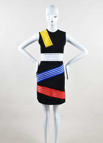 Christopher Kane Black and Multicolor Abstract Sheer Striped Sheath Dress Frontview
