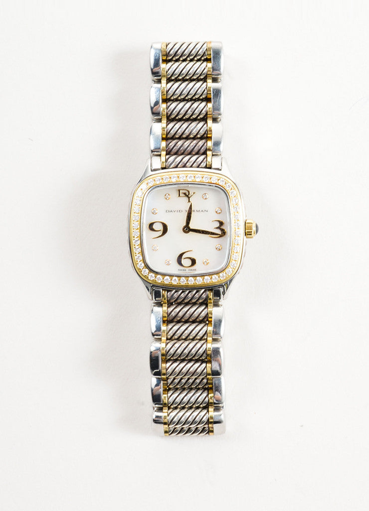"David Yurman Stainless Steel, 18K Gold, and Diamond 25mm ""Thoroughbred"" Watch Frontview"