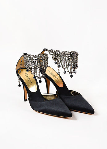 Dolce & Gabbana Black and Grey Satin Rhinestone Ankle Chain Pointed Toe Pumps
