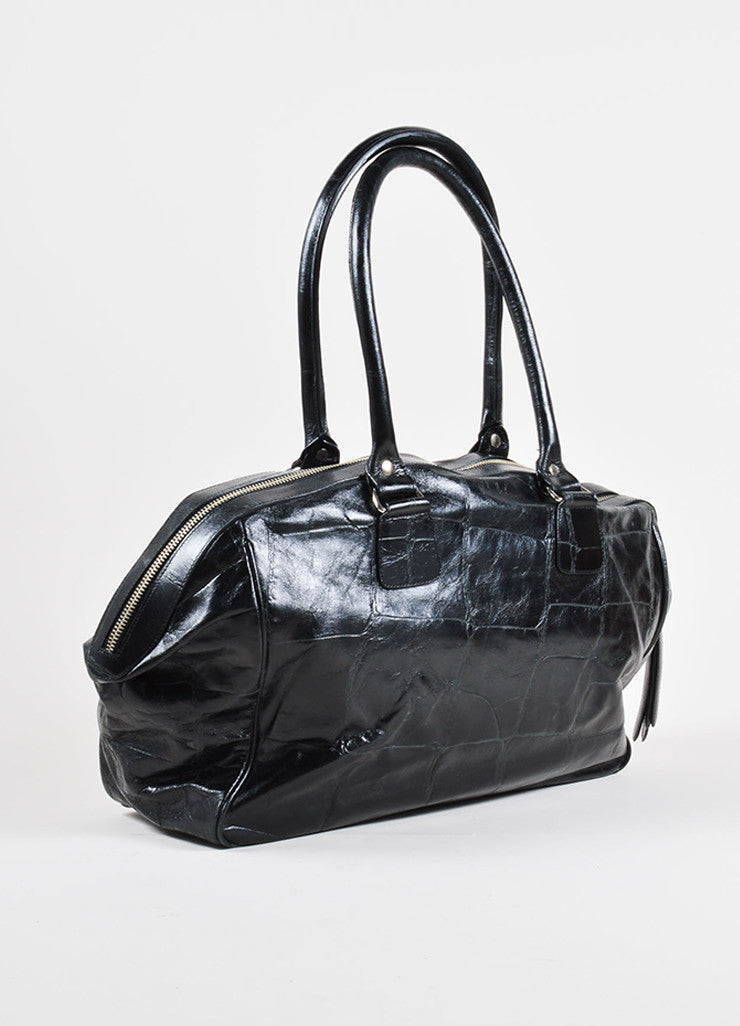 Dries van Noten Black Reptile Leather Shoulder Bag Side