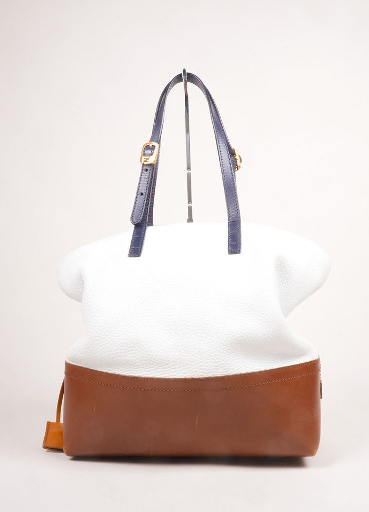 "Fendi White, Brown, and Navy Leather Color Block ""2bag"" Tote Shoulder Bag Frontview"