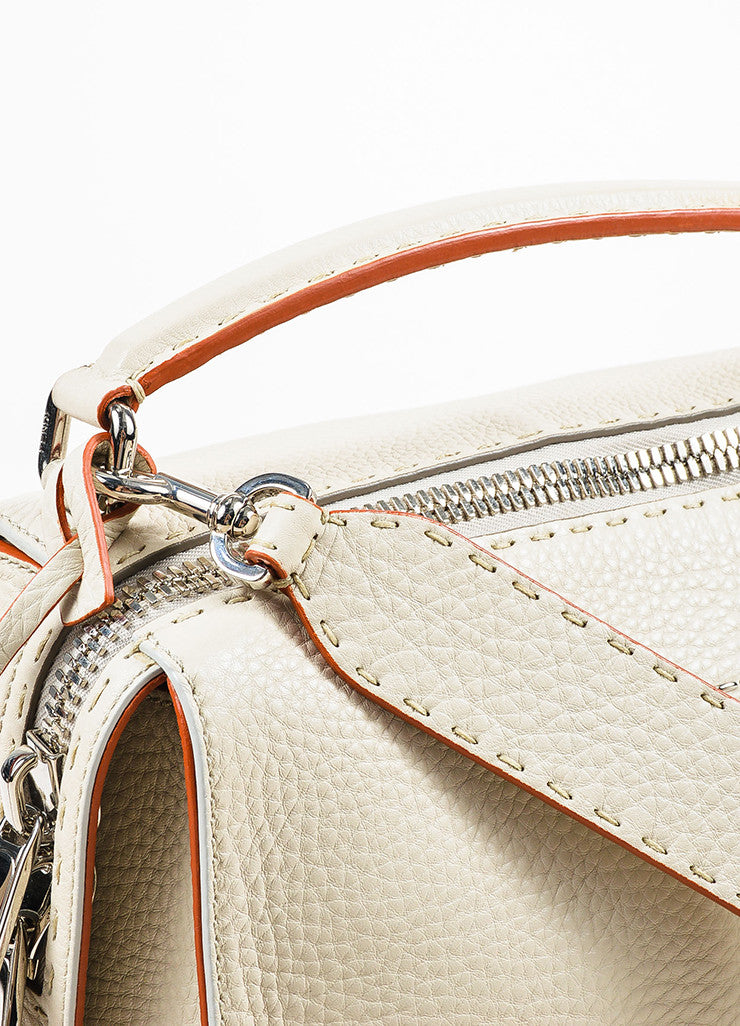 "Fendi Cream Leather Red Trim Double Silver Toned Zipper ""Lei Selleria"" Bag Detail 2"