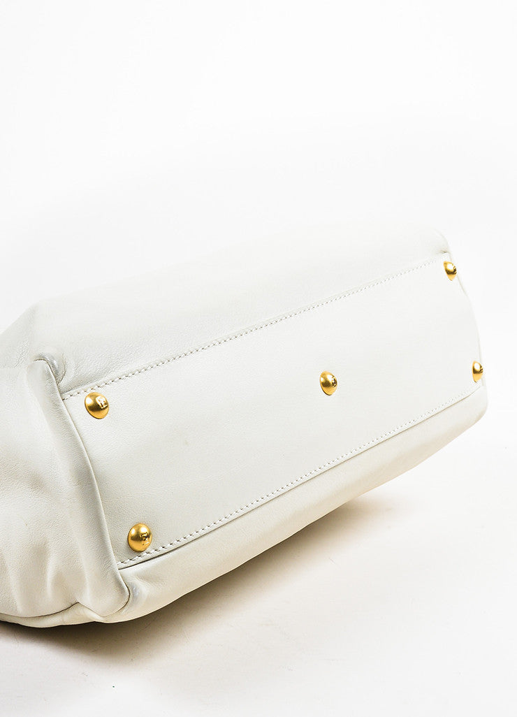 "Cream Leather and Gold Toned Fendi ""Medium Peekaboo"" Satchel Shoulder Bag Bottom View"