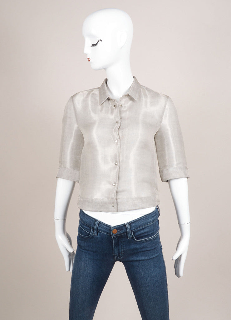 Giorgio Armani Silver Silk and Linen Cropped Button Up Blouse Frontview