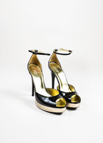 Gucci Black and Metallic Gold Patent Leather Peep Toe Platform Sandals Frontview