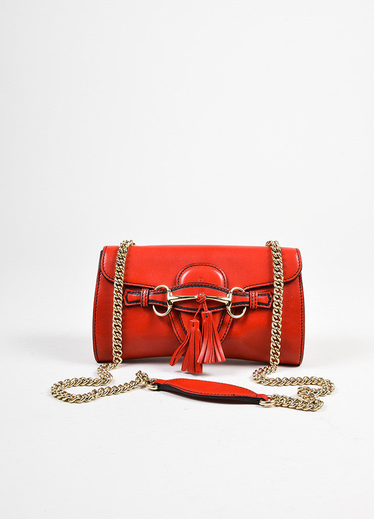 "Red Gucci Leather ""Emily"" Horsebit Tassel Chain Strap Shoulder Bag Frontview"