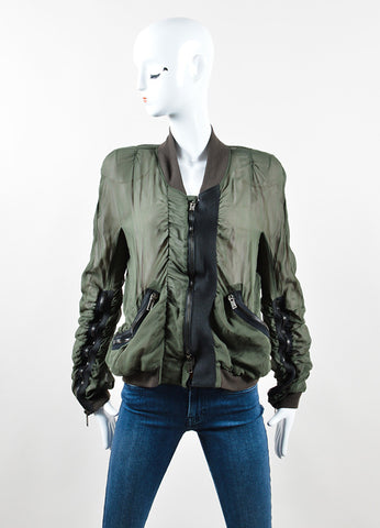 Haider Ackermann Green Silk Sheer Overlay Ruched Bomber Jacket Frontview