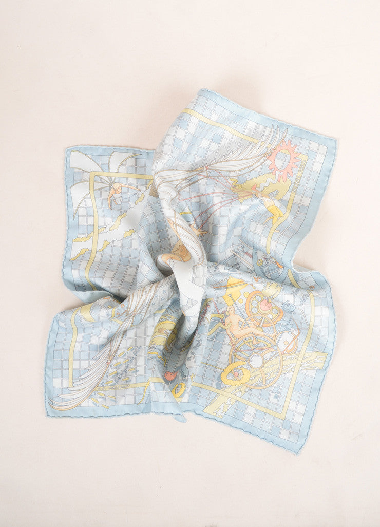 Hermes Blue and Multicolor Silk Checkered Cherub Print Handkerchief Scarf Frontview